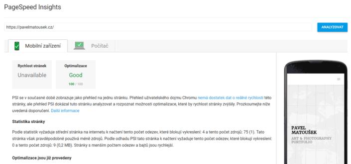 Hodnocení optimalizovaného webu v Google PageSpeed Insights