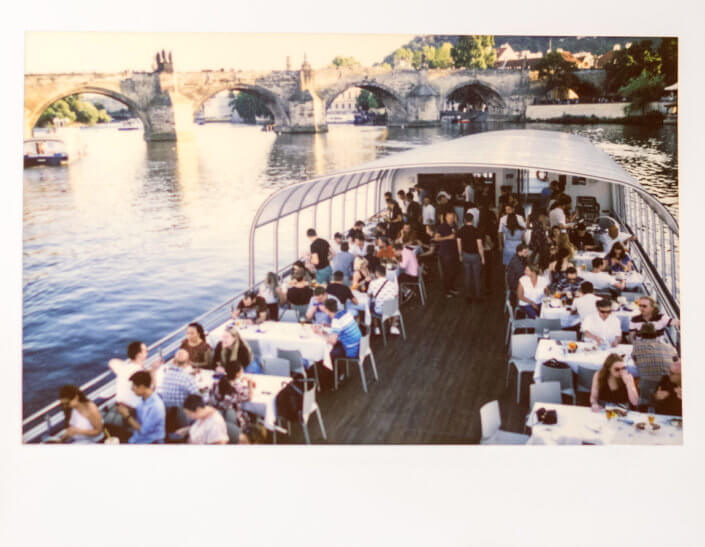 Corporate party at river boat in Prague, shot with polaroid