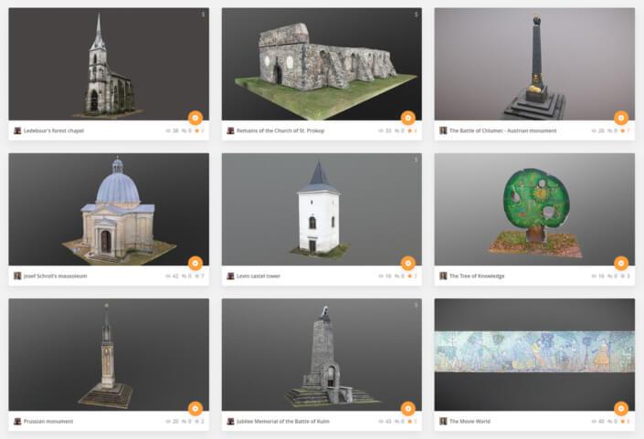 3D modely veřejný prostor (vetřelci a volavky) | Public space cultural heritage 3D models